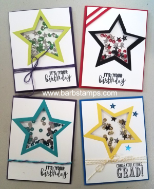 Video tutorial on my blog to make this shaker card.  New Bermuda Bay Mini Chevron Ribbon. #barbstamps #shakercards