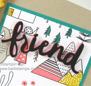 Check out this card made using the Lovely Words Thinlits and the Pick a Pattern DSP.  More details on my blog at www.barbstamps.com. #barbstamps #stampinup #lovelywordsthinlits #pickapattern