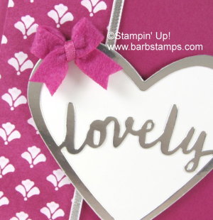 Gorgeous card in Berry Burst that uses the Lovely Words Thinlits, a Berry Burst Bitty Bow and the Happy Birthday Gorgeous stamp set.  More info on my blog at www.barbstamps.com #barbstamps #lovelywordsthinlits #stampinup