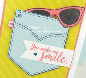 Fun summer card on my blog, www.barbstamps.com diagonal stripe background stamp, wink of stella on the glasses