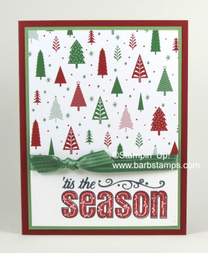 Quick and Easy card using the Be Merry DSP and the Merry Patterns stamp set www.barbstamps.com #stampinup #bemerry #merrypatterns