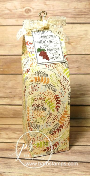 Gift bag from one 12x12 piece of DSP, directions and template on  my blog www.barbstamps.com #dsp #stampinup #barbstamps #wineinabag
