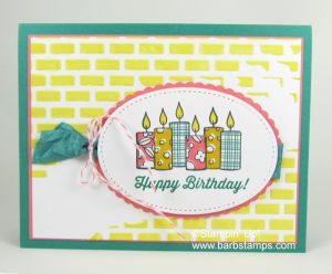 Super cute birthday card using the Merry Patterns stamp set and our Embossing Paste. Did you know that you can color the paste?  www.barbstamps.com  #embossingpaste #stampinup #merrypatterns