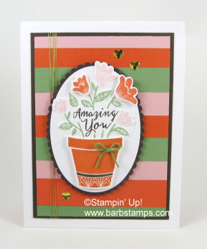Color Fusers Blog Hop, start it on my blog www.barbstamps.com.  Each month, we use a selection of Stampin' Up! colors and our fusers create amazing projects with them.  I use the Grown with Love Bundle on my project this month. #colorfusers #stampinup #duy #cardmaking #barbstamps