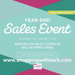 Shop the Year End Sales Event in my store at www.shoppingwithbarb.com. Lots of discounted items. See the Holiday Catalog retiring items