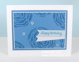 VIDEO on my blog using the Sweet Soiree Decorative Masks with the Sponge brayer.  www.barbstamps.com #stampinup #sweetsoiree #cakesoiree #barbstamps
