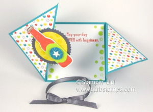 Video on my blog for this Triangle Tri-fold Card www.barbstamps.com Project uses the Stampin' Trimmer, Bubble Over Bundle, Bubbles & Fizz Sale-a-bration DSP and more.... #stampinup #saleabration