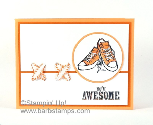VIDEO on my blog for this Epic Celebrations Card featuring shoelaces!  Super fun with more pics www.barbstamps.com #epiccelebrations #stampinup # barbstamps