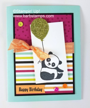 Party Pandas card was created during my Facebook Live Show last week. Check it out www.barbstamps.com #saleabration #stampinup #barbstamps