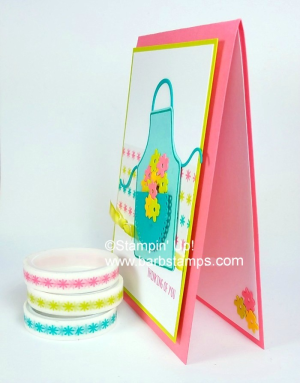 Super cute Apron Card on my blog www.barbstamps.com Card also uses our three color Washi Tape collections check my blog for all the details. #stampinup #washitape #apronbuilder #apronoflove #barbstamps