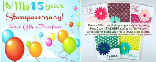 FREE Card kit with orders placed during my Anniversary Celebration check it out on my blog www.barbstamps.com #stampinup #anniversary #barbstamps