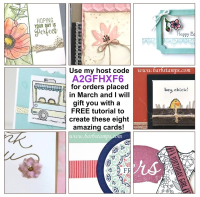 Free gift with purchase in March.  All orders that use my Host Code A2GFHXF6 will receive this emailed tutorial. ORders of $50 or more also receive FREE lace doilies #barbstamps