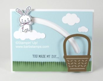 Super cute spinner card featuring the adorable bunny from the Basekt bunch Bundle spinning and ending up in a basket.  VIDEO shown on www.barbstamps.com