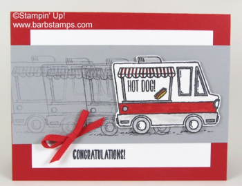 Tasty Trucks Sale-a-bration set, FREE with a $50 order placed in my store at www.shoppingwithbarb.com.  Card seen on www.barbstamps.com