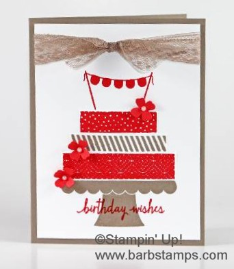 Build a Birthday stamp set using Waermelon Wonder and Tip Top Taupe.  2015-2017 In Colors area retiring at the end of May.  Purchase your In Color products in my store at www.shoppingwithbarb.com #barbstamps #stampinismyjob