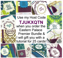 Get this tutorial for 25+ cards when you purchase the Eastern Palace Premier Bundle from me.  Head to www.shoppingwithbarb to order.  More details at www.barbstamps.com