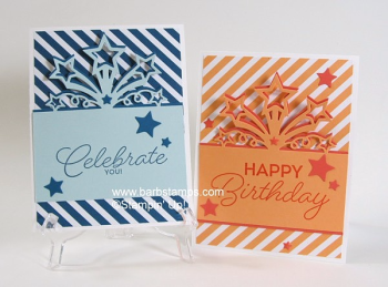 Two cards for the boys and girls using gthe Stampin' Up! Star Blast Thinlits, see a video on my blog www.barbstamps.com #starblastthinlits
