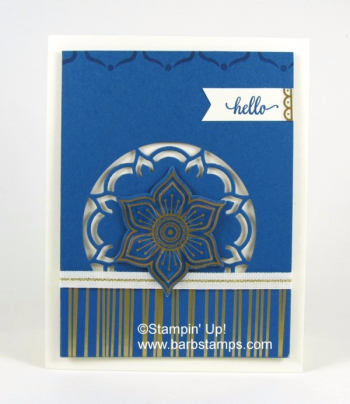 I have a FREE tutorial for you if you purchase the Eastern Palace Premier Bundle from me in May.  I also have videos showing you how to use the Eastern Medallions Thinlits. Shop with me www.shoppingwithbarb.com check my blog for more great ideas www.barbstamps.com