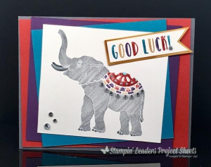 The Lucky Elephant single stamp was colored with our Stampin' Write Markers  is on the Retiring List. Purchase yours are www.shoppingwithbarb.com #barbstamps