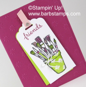 Crafting Forever stamp set, paper piecing on the cup, blender pens on the paintbrushes.  Details on my blog www.barbstamps.com Love the new Lemon Lime Twist!! #stampinup #craftingforever
