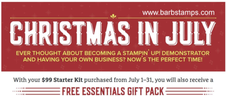 Receive an Essentials Gift Pack and Carols of Christmas stamp set when you join my team of demonstrators in July. More details at www.barbstamps.com