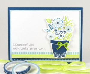 Technique Video (includes thumping and dyeing ribbons and trims) for this awesome card using the Grown with Love Bundle. can be found at www.barbstamps.com.  It is part of the Color Fusers Blog Hop for July.  Our colors are Soft Sky, Dapper Denim, Lemon Lime Twist and Whisper White.  Purchase the supplies in my store at www.shoppingwithbarb.com #colorfusers #barbstamps #thumping