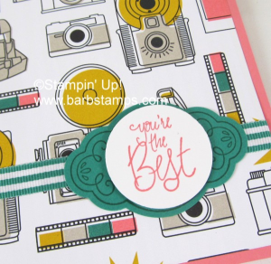Check out this cute card on my blog www.barbstamps.com that uses the Pick a Pattern DSP, Label Me PRetty Bundle and our striped grosgrain ribbon
