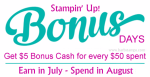 It's Bonus Days, spend $50 get a $5 coupon to use in August. www.barbstamps.com