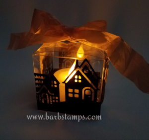 Video on my blog to create this adorable Halloween Luminary www.barbstamps.com #halloween #hometowngreetings