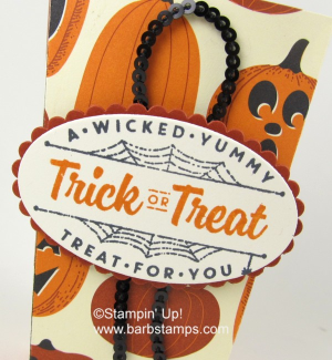 Popcorn Box made with the Spooky Night DSP and the Spooky Cat Bundle www.barbstamps.com