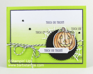 Fun ombre Halloween card using the Seasonal Chums stamp set, sponge brayer and Lemon Lime Twist ink www.barbstamp.com  #stampinup #seasonalchums