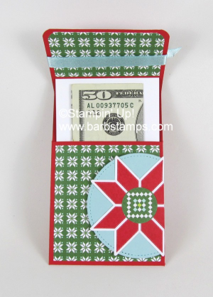 I have a video on my blog for this cash slider, You could put a gift card, candy, jewelry or cash in one of these fun interactive slider pouches. www.barbstamps.com #stampinup #quiltedchirstmas #barbstamps #diy #cardmaking