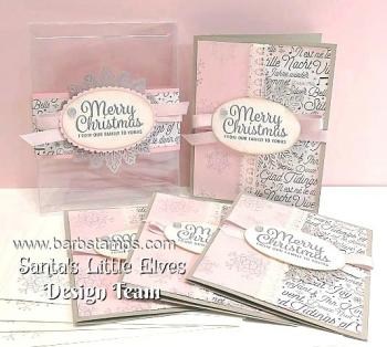 VIDEO and FREE printable project sheet on my blog showing you how to create this fabulous Christmas Gift.  It is a card box complete with four cards wrapped in a belly band.  The project is part of the Santa's Little Elves Countdown to Christmas. www.barbstamps.com #santaslittleelves #stampinup #diy #cardmaking #snowflakesentiments