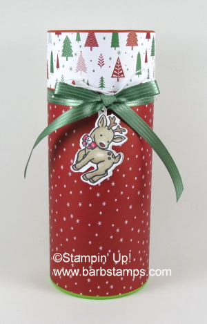 Check out my blog for more pics.  I wrapped this box from the Dollar Store and added a decorated Tealight Candle inside.  www.barbstamps.com #dollarstore #stampinup #seasonalchums #bemerry