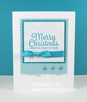 Gorgeous snowflake card on my blog www.barbstamps.com uses the Snowflake Sentiments stamp set and the yummy Bermuda Bay Satin Stitched Ribbon. #stampiup #barbstamps #snowflakesentiments