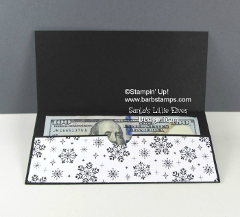 VIDEO tutorial on my blog for this super cool money holder.  www.barbstamps.com FREE printable tutorial too. #moneyholder #stampinup #merrylittlechirstmas #seasonofglitz
