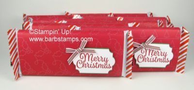 Wrap candy bars to give as gifts to anyone this holiday.  Details on my blog www.barbstamps.com #hersheysbars #stampinup #quiltedchristmas