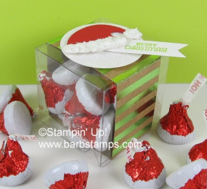 Cute box for the Santa Hat Hershey's Kisses. Details are on my blog www.barbstamps.com #stampinup #hersheyskisses #foilfrenzy