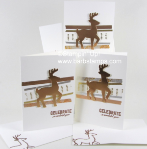 Fun cards that use products from the Year of Cheer Suite including the Specialty Washi Tape and Copper Foil Sheets. Lots more pics on my blog www.barbstamps.com. #stampinup #yearofcheer #barbstamps