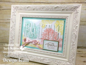 Gorgeous frame for your home using the Heartfelt Blooms Sale-a-bration stamp set from Stampin' Up!  Earn this set free during Sale-a-bration, place your orders in  my store at www.shoppingwithbarb.com. Find a printable project file with supplies and instructions on my blog www.barbstamps.com #stampinup #heartfeltblooms #homedecor #diy