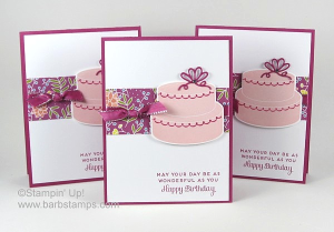 Video tutorial on my blog for this card that uses the Sweet Soiree Decorative Masks and the Cake Soiree Bundle. www.barbstamps.com #stampinup #diy #papercrafts