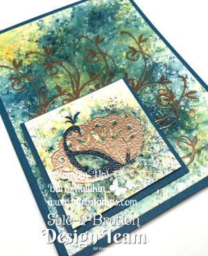 Gorgeous card with the Beautidul Peacock stamp set and BRUSHO!!!  More pictures and a printable file with instructions, cutting guide and supply list at www.barbstamps.com #brusho