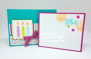 VIDEO on my blog for this fun fold birthday pocket card that could hold a gift card. Card made with the Picture Perfect Birthday stamp set and Picture Perfect Party DSP.  #stampinup #pictureperfectbirthday #pictureperfectparty #funfold #barbstamps
