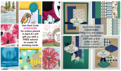FREE gifts in April with orders, check it out www.barbstamps.com