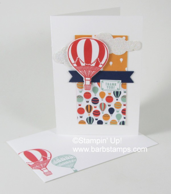 Carried Away Designer Series Paper coordinatees with the Lift Me Up Bundle.  Earn this DSP Free with a $50 order by March 31st, 217.  Check out more great projects at www.barbstamps.com