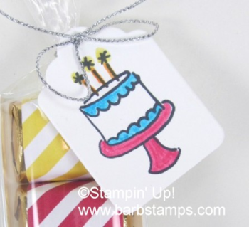 Retiring stamp set called Endless Birthday Wishes, super cute!!  Find this project on my blog at www.barbstamps.com.  Project uses Brights Designer Series Paper, Tags & Labels Framelits and 2 x 8 Cellophane Bags #barbstamps #diy