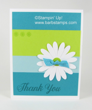 Video on my blog for the Color Blocking Technique, I share a tip on how to get your color strips perfectly aligned. I used the new Daisy Delight Bundle on this card along with our new Lemon Lime Twist In Color!!  www.barbstamps.com www.shoppingwithbarb.com #daisydelight #barbstamps