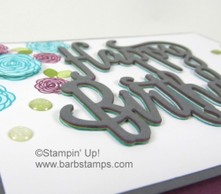 Video for this card with stacked greetings can be found at www.barbstamps.com.  It is part of the Color Fusers Blog Hop.  Our colors were Bermuda Bay, Rich Razzleberry, Old Olive, Basic Gray and Whisper White.  Purchase the supplies in my store at www.shoppingwithbarb.com #colorfusers #barbstamps #stackedgreetings