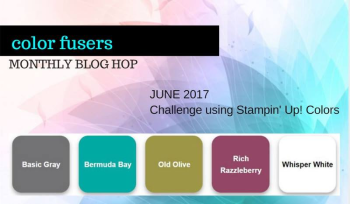 Start the Color Fusers Blog Hop with me at www.barbstamps.com.  Our colors for June are Bermuda Bay, Rich Razzleberry, Old Olive, Basic Gray and Whisper White.  We have some wonderful projects to share with you.