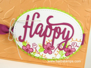 "Crop ""birthday""  from the Happy Birthday Thinlit and you have this!  I used the Happy Birthday Gorgeous Bundle to make this amazing card, you will find more details and photos on my blog at www.barbstamps.com"